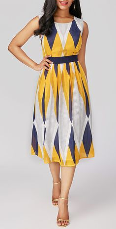 High Waist Round Neck Printed Sleeveless Midi Yellow Dress, high quality and bright color make you lovely, free shipping worldwide at rosewe.com, check it out.