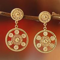 Gold plated filigree dangle earrings, 'Wheel of Life'