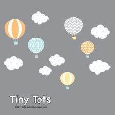 Hot Air Balloon Nursery-Hot Air Balloon Decals-Hot Air Balloon and Cloud Decal-Wall Stickers-Girl-Bedroom-Nursery Decor-Wall Sticker-e27 by Modernwalls on Etsy https://www.etsy.com/listing/271489338/hot-air-balloon-nursery-hot-air-balloon