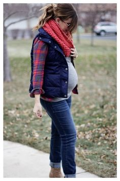 Layers and plaid...winter maternity look