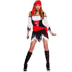 Atraente pirata preto e mulheres de vestido vermelho Halloween Costume – BRL R$ 47,49