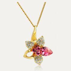 Necklace collarbone Giglio Luxury Swarovski Crystal 18K real gold