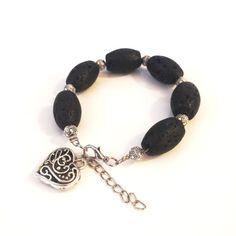 Black Stone Bracelet Lava Stone Bracelet by MayaMayaCollection