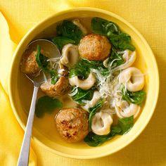 Cheesy Chicken Meatball-and-Tortellini Soup #recipe