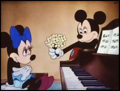 """"""" Minnie gets flowers from Mickey Mouse in """"Mickey's Surprise Party"""" - Walt Disney """" Mickey Mouse Cartoon, Vintage Mickey Mouse, Mickey Mouse And Friends, Mickey Minnie Mouse, Looney Tunes Cartoons, Old Cartoons, Classic Cartoons, Disney Cartoons, Disney And More"""