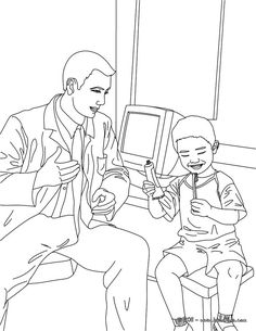 Print This Dentist And Kid In The Dental Surgery Coloring Page Out Amazing Way For