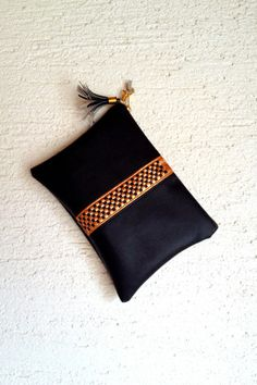 Black Gold Woven Vegan Leather Clutch Bag, Elegant Evening Women Leather Clutch Bag, Red Clutch Bag,  Red and Gold Leather Clutch Bag