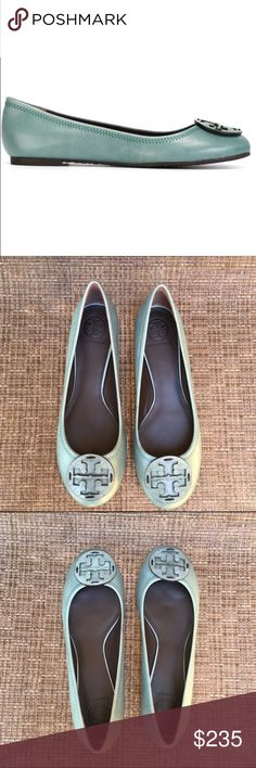 🎉Tory Burch Dark Sage Reva Leather Snake Print Tory Burch Dark Sage Reva Ballet Leather Snake Print.  Beautiful and unique color for any season!  Brand new without tags.  Includes box.  Never worn. Tory Burch Shoes Flats & Loafers