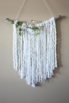 White Yarn Wall Hanging-Floral Yarn Wall Hanging-Driftwood