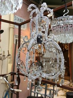 French vintage large 6 arm crystal chandelier with gilded frame find this pin and more on lighting chandeliers sconces and lanterns small french vintage aloadofball Images