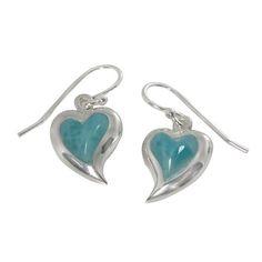 NOA Sterling silver earring with Heartart shape larimar 12.8mm x 27.0mm Sale Price : US$ 53.00 * Sale End Date - 31.12.2014