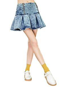 f002ee7875 Elf Sack Womens Spring Denim Bleached Mini Jeans Skirt Blue Small *** Want  to