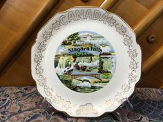 Vintage And Rare Niagara Falls Canada Souvenir Plate With 22Kt Gold Maple Leaf Trim Decorated In Canada, Made In USA by AdoptAKeepsake on Etsy