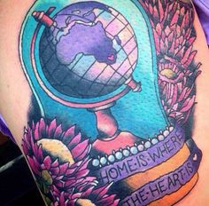 Wanderers are constantly collecting passport stamps, soul-stirring stories and often, stunning wanderlust tattoos. Here are 46 wanderlust tattoos: Wanderlust Tattoos, Occult Tattoo, Art Journal Tutorial, Passport Stamps, Gorgeous Tattoos, Travel Outfit Summer, Where The Heart Is, Leg Tattoos, Tatting