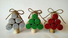 Set of 3 Wine Cork Christmas Tree Ornaments by HappyHeartHomeDecor on Etsy https://www.etsy.com/listing/475100192/set-of-3-wine-cork-christmas-tree