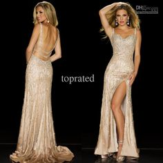Wholesale Evening Dresses - Buy Buy One Get One Free 2014 Fall Nude Luxurious Beaded Sexy Backless Elastic Satin Sequin Beads Evening Gowns Formal Dresses, $219.99 | DHgate