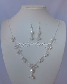 Swarovski pearl and crystal necklace and by DragonflyWeddings, £42.00