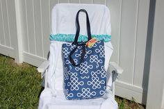 Dark Blue Beach Tote Bag