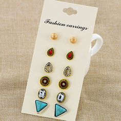 6 Pairs/lot Bohamian Turquoise Cracked Stone Stud Earrings Sets Women Female Round Triangle Water Drop Shape Ear Studs Jewelry