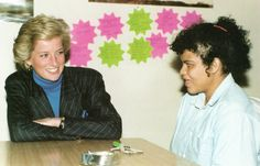April 27, 1990:  Princess Diana talks to young Heidi at the Depaul Trust Housing Scheme for Homeless Youth.