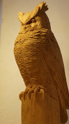 www.lpostrustics.com Life sized Great Horned Owl sculpture carved in cherry wood by Jillian Post.