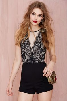 Nasty Gal Mesh and Lace Romper at Nasty Gal