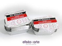 Kit ressaca em embalagem de alumínio para formatura.  Orçamentos e pedidos pelo e-mail contato@efeitoearte.com.br