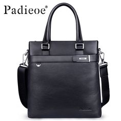 Padieoe 2017 Deluxe Mens Genuine Cow Leather Briefcase Luxury Business men Messenger Bag Handbags Fashion Portfolio Briefcases