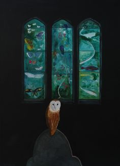 "Contemporary Painting - ""Farnborough Church and Barn Owl"" (Original Art from Robert Harris)"