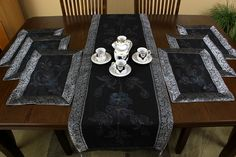 Hand Painted 7-Piece Placemat & Table Runner Set. Perfect for decorating your tables for special occasions. Available in 9 bold colors.
