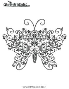 This is actually a free coloring page. Some of the nicest patterns come from coloring books. I absolutel LOVE this butterfly. It's so ornate!
