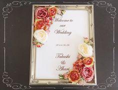 ウェルカムボード完成品●アンティークカラーのウェルカムボード:A Wedding Welcome Board, Welcome Boards, Reception Ideas, Wedding Reception, Frame, Decor, Marriage Reception, Picture Frame, Welcome Back Boards