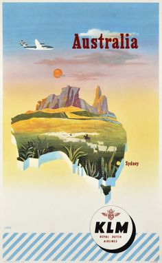 Original KLM Australia Airline Travel Poster - by PosterConnection Inc. Travel Ads, Airline Travel, Air Travel, Travel Photos, Vintage Travel Posters, Vintage Postcards, Vintage Airline, Poster Vintage, Deco Aviation