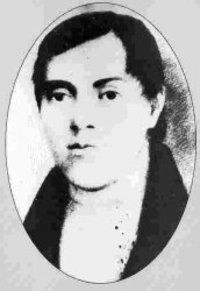 Cuthbert Grant Jr., portrait, at about age 19 (Métis, b. c. 1793, Fort de la Rivière Tremblante [near Kamsack, SK]; died 1854 at St. Francois Xavier Parish) NWC career, principal settler, farmer, buffalo hunter, warden, justice of the peace, HBC Councillor of Assiniboia. Source: Wikimedia; from Dictionary of Canadian Biography.