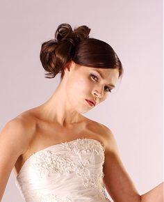 long brown straight top knot glamourous wedding hairstyles for women