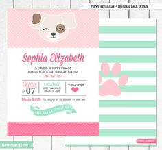 [PUPPY INVITATION ] ♥ This delightful party invitation is just what an animal-loving birthday girl needs to have a party she will never