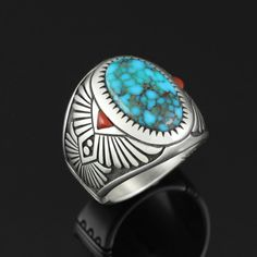 Wright's Indian Art: Candelaria Turquoise Ring by Marco Begaye