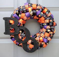 Boo Halloween Ribbon 12' Wreath