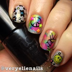 Hippie nails! This one goes out to my best friend  #veryelienails #nailart