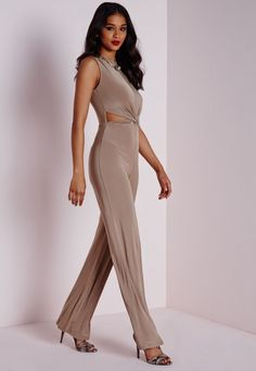 Slinky Twist Front Jumpsuit Taupe