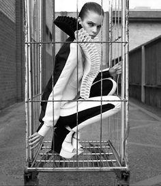 Mime in a Box ?  A Call to ArmorNY Times Magazine, December 2008Photographer: Jean-Baptiste MondinoModel: Kim Noorda