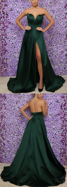 Emerald Green Long Satin V-neck Leg Split Prom Evening Dresses