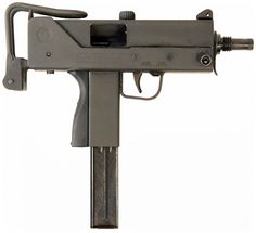 "M-10 (""MAC-10"", Military Armament Corporation Model 10) 9mm and .45ACP machine pistol developed by Gordon B. Ingram in 1964, in service with the armed forces of the USA from 1970-1975, still in production. 1090-1145 round/min. The M-11 variant, which chambered the smaller .380 ACP round, could manage nearly 1600 rounds/min."