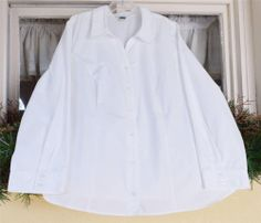 CJ Banks Classic Fitted Top Shirt Blouse 2X White 55% Cotton 45% Polyester #CJBanks #Blouse #CareerDressyCasual