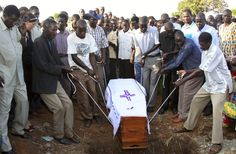 Pallbearers lower the coffin of Kony's mother into her grave during her burial in Odek, 67km southeast of Gulu town, on November 14, 2009. Nora Anek, 86, had wanted her son to come out of the bush and sign a peace deal with the Uganda government. Kony leads the reportedly cult-like LRA, and has declared himself a prophet fighting to rule this country of 26 million people according to the Ten Commandments.