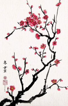 Cherry Blossoms, Giclee Print of Chinese Brush Painting, 13 X 20 Inches: Watercolor Paintings: Posters & Prints Chinese Cherry Blossom, Japanese Cherry Blossoms, Japanese Tattoo Cherry Blossom, Chinese Art, Chinese Brush, Chinese Prints, Chinese Style, Cherry Blossom Painting, Cherry Blossom Wallpaper
