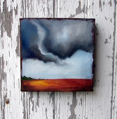 Original oil painting earthy landscape dramatic thunderstorm clouds storm chaser tornado season  - Stormscape series thirtyone. $74.00, via Etsy.