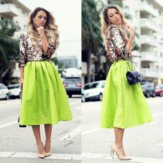 Chicwish lime/neon green full midi skirt.