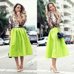 Chicwish lime/neon green full midi skirt.
