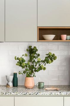 Spring Street Kitchen by Cantilever Interiors. Love the sage green cupboards and textured white tile. Also love the terrazzo bench, but Tim doesn't. Kitchen Interior, New Kitchen, Kitchen Decor, Modern Kitchen Tiles, Timber Kitchen, Neutral Kitchen, Wooden Kitchen, Küchen Design, Custom Design